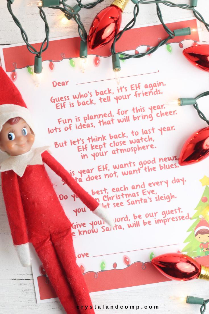 Elf On The Shelf Welcome Back Letter