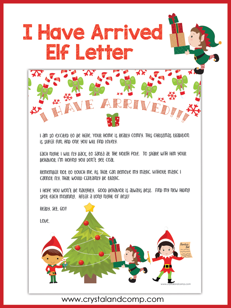 free printable elf arrival letter