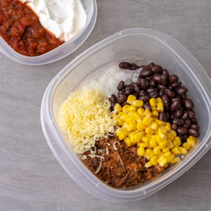 Freezer Friendly Pulled Pork Burrito Bowls for Meal Prep