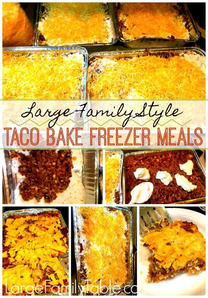 Taco Bake Freezer Meal Recipe| LargeFamilyTable.Com