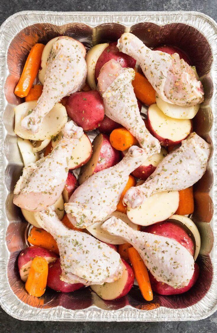 Freezer Italian Herb Roasted Chicken & Potatoes Recipe