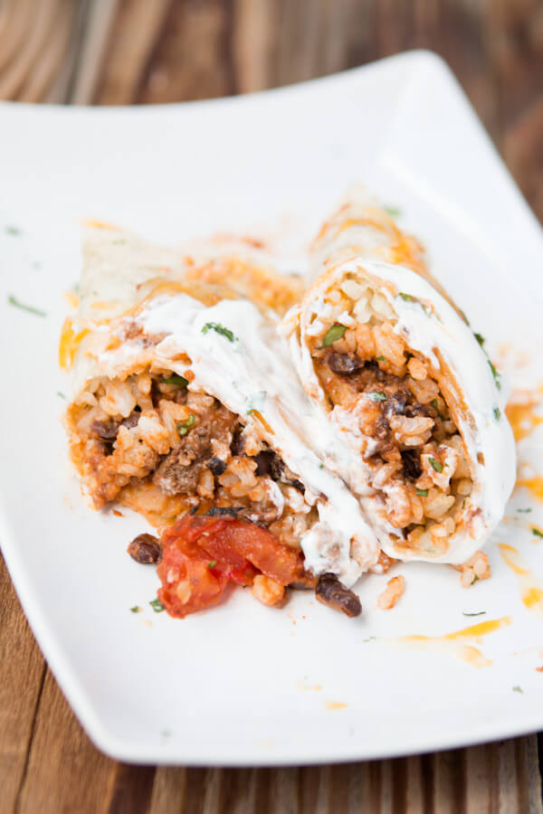 Freezer Meal Beef and Bean Burrito - Oh Sweet Basil