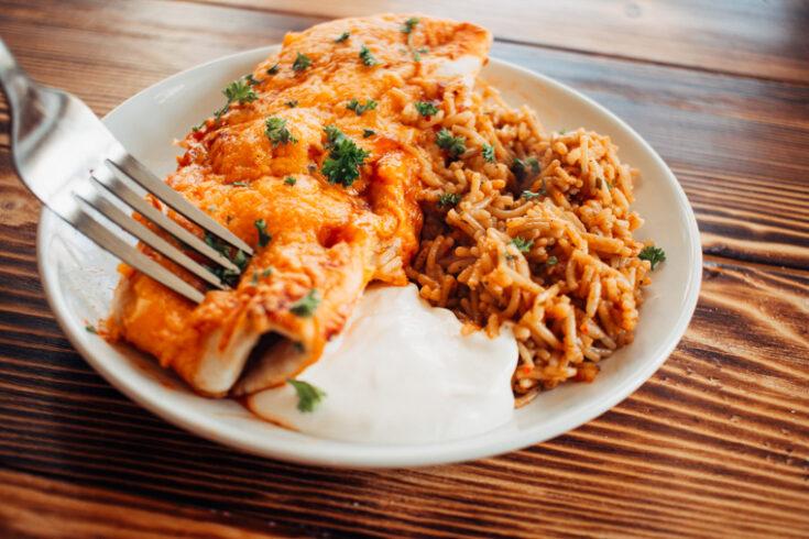 Freezer Meal: Cheesy Chicken and Black Bean Enchiladas Recipe