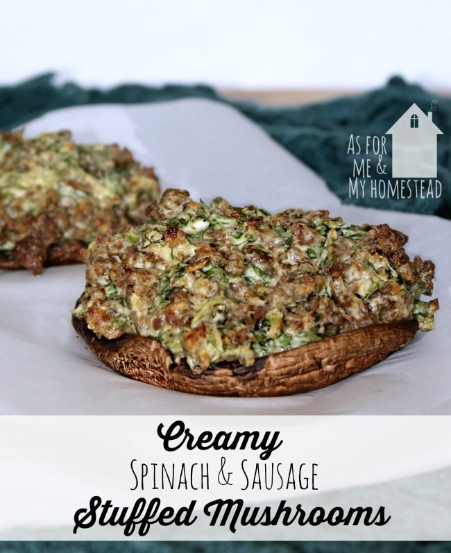 Creamy Spinach and Sausage Stuffed Portobello Mushrooms
