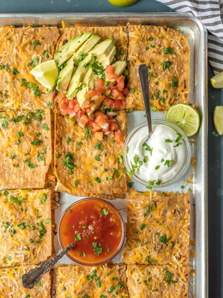 Chicken Quesadilla Recipe for a Crowd (Sheet Pan Chicken Quesadillas!)